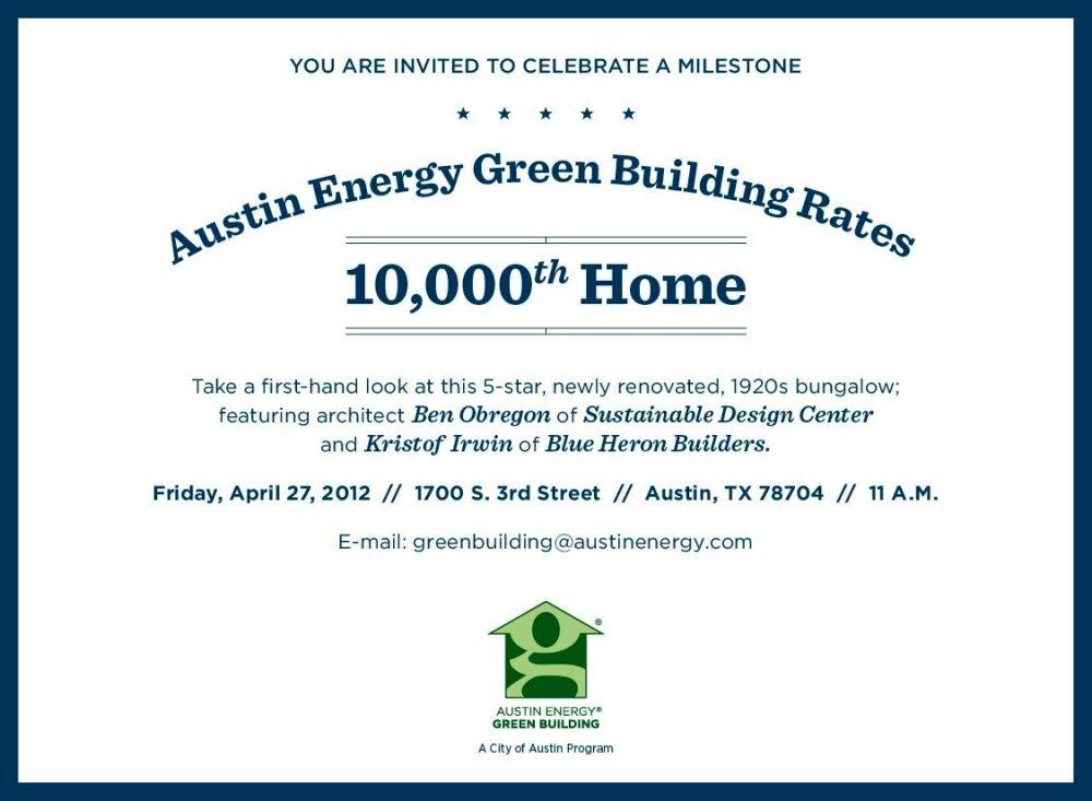 Invitation to 10,000th Green Builder Award Ceremony