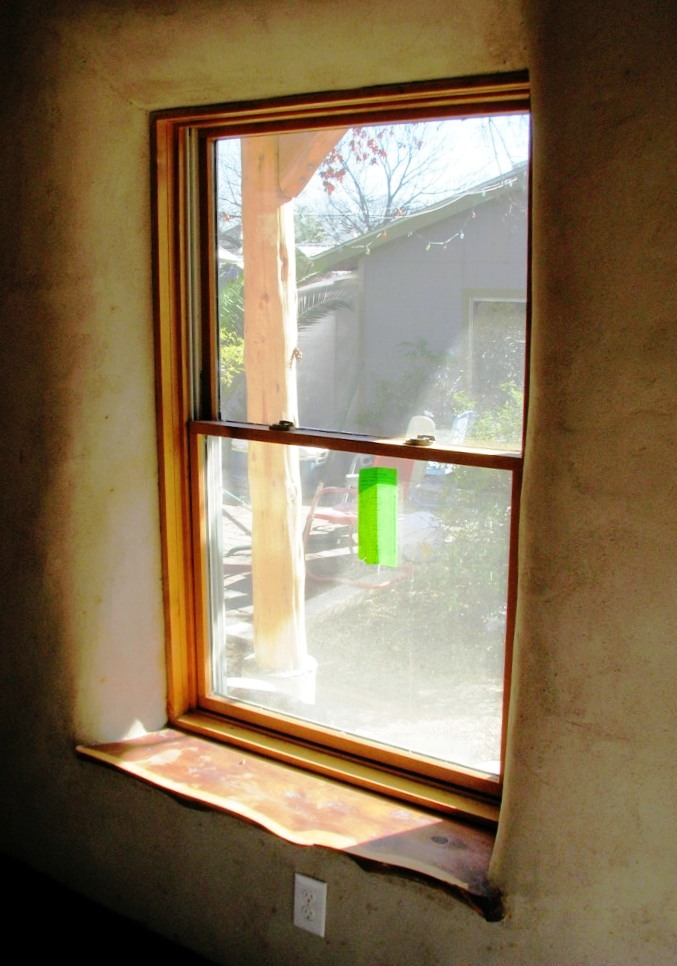 Window in straw wall-finished